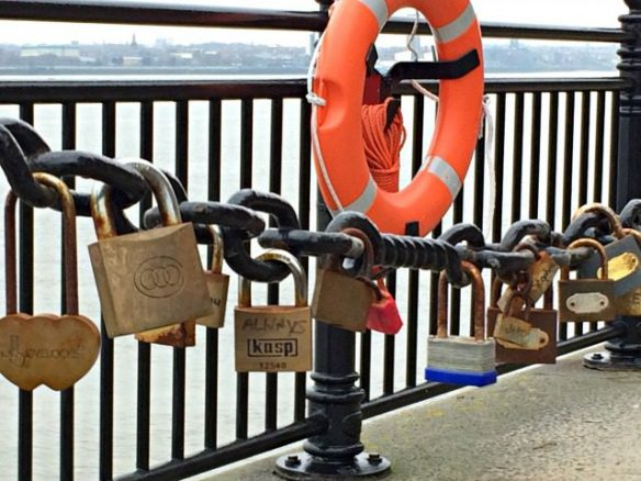 Padlocks on River Mersey