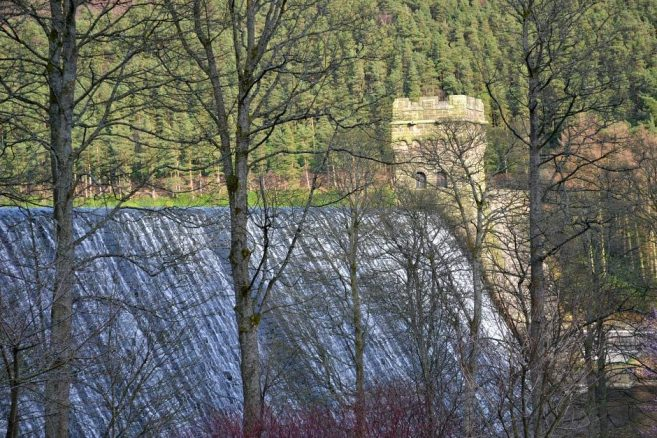 Active Dam on a Reservoir in the Peak District.