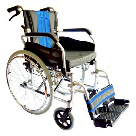 Budget Travel Wheelchair with Blue and Grey Seat
