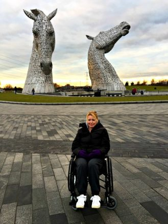 Bridget at The Kelpies
