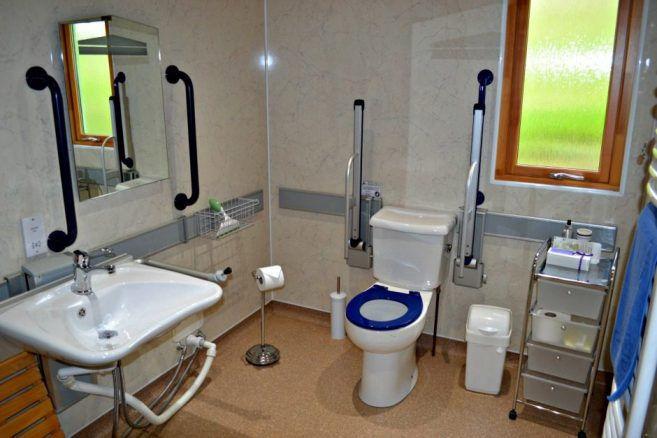 Accessible Bathroom in Daisybank Cabin at Hoe Grange Holidays