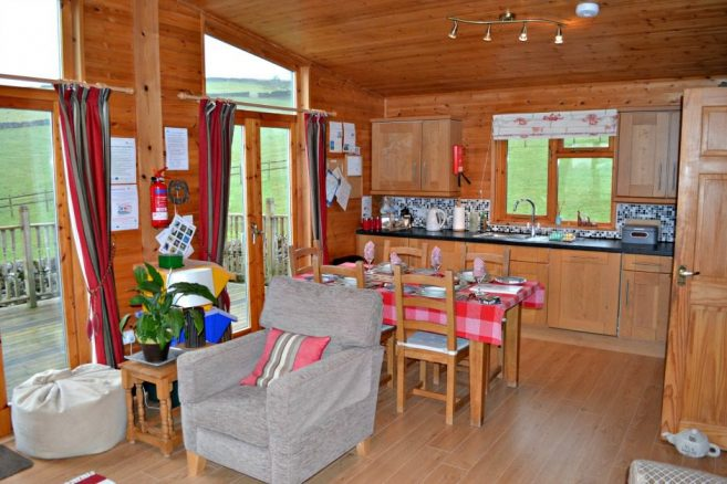 Luxurious Kitchen in Hoe Grange Log Cabin