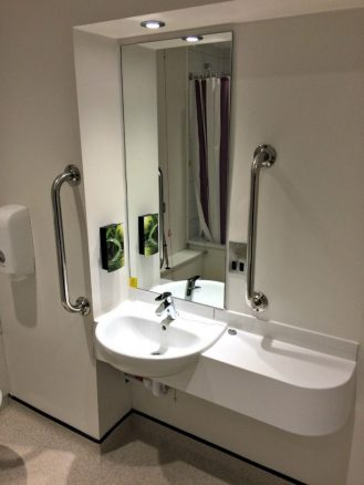 Low-level Wash Basin in Hotel Room