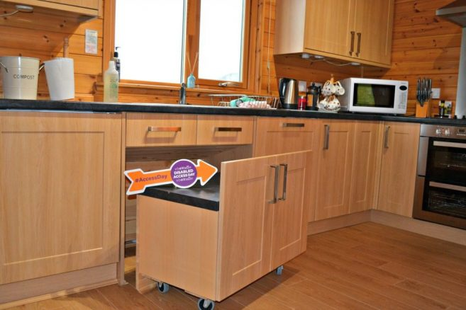Wheelchair Friendly Kitchen in Log Cabin