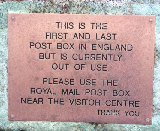 First and Last Post Box Sign at Land's End
